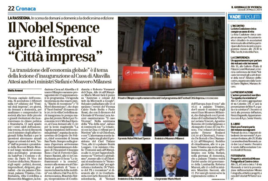 "8a6106360d Il Nobel Spence apre il festival ""Città impresa"""